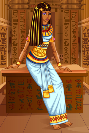 ancient civilization: Egyptian civiliziation Queen Goddess on Egypt palace backdrop