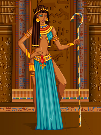 Egyptian civiliziation Queen Goddess on Egypt palace backdrop