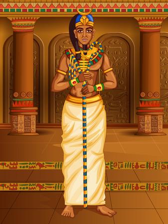 Egyptian civiliziation King Pharaoh God on Egypt palace backdrop
