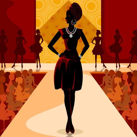 Beautiful African black woman modern stylish model on ramp