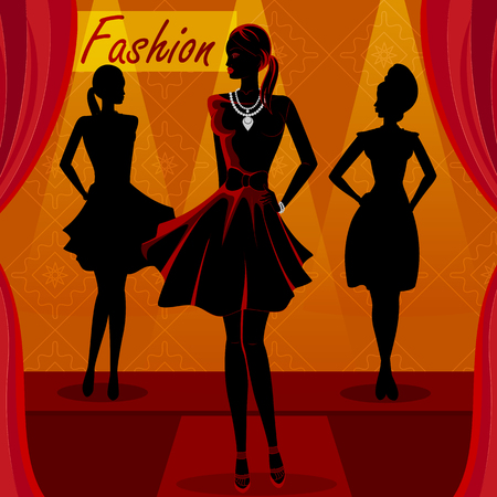 Mooie Afrikaanse zwarte vrouw modern stijlvol model op de oprit. Stock Illustratie