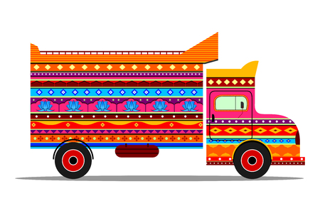 Truck of India in Indian art style 向量圖像