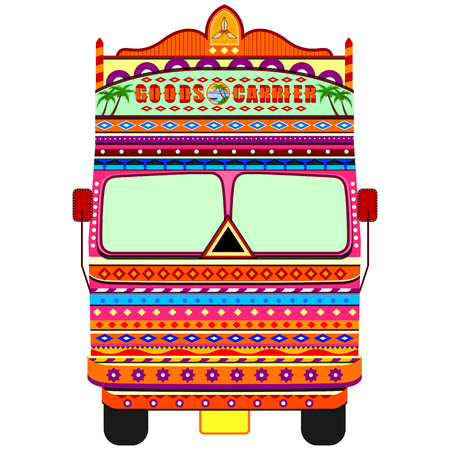 Truck of India in Indian art style 일러스트