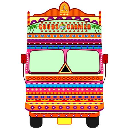 Camión de la India en estilo de arte de la India Foto de archivo - 80568116