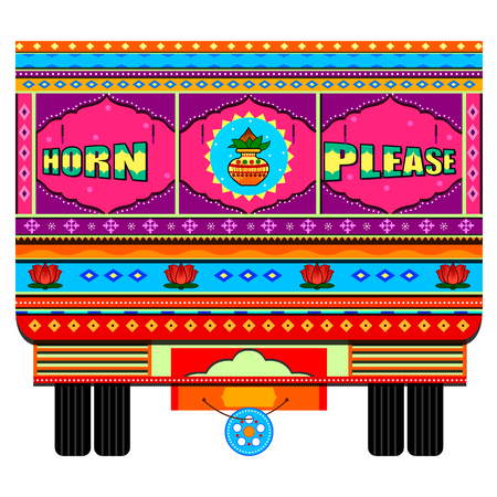 Truck of India in Indian art style Ilustracja