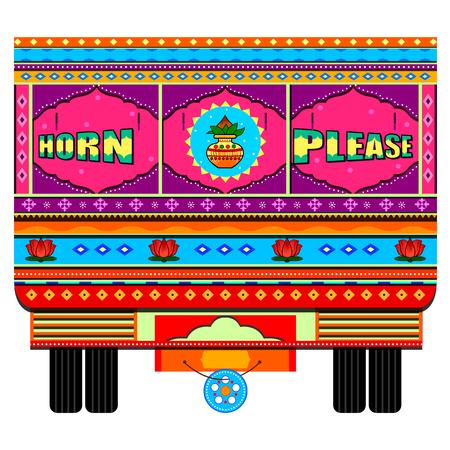 Truck of India in Indian art style Stock Illustratie