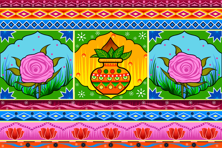 Floral Kitsch background in Indian Truck Art style
