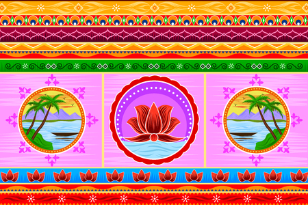 Floral Kitsch background in Indian Truck Art style Stock Vector - 80568190