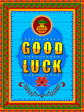 Good Luck background in Indian Truck Art style Stock Vector - 80568318