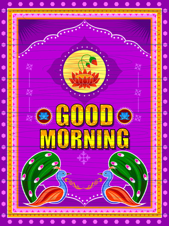 Good Morning background in Indian Truck Art style Stock Vector - 80568342