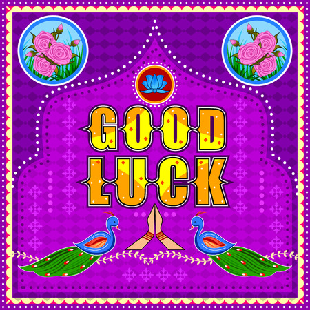 Good Luck background in Indian Truck Art style Illustration
