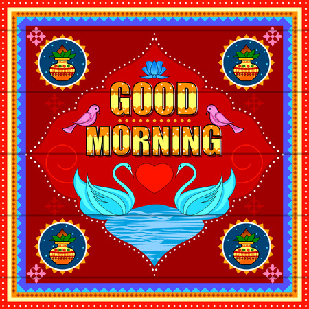 Good Morning background in Indian Truck Art style Ilustracja