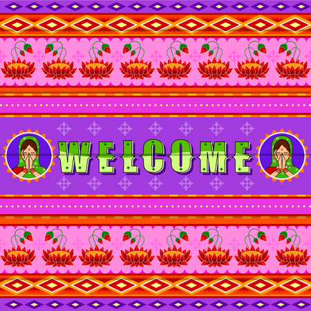 Welcome background in Indian Truck Art style Stock Vector - 80568355