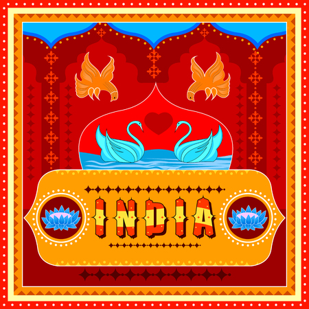 India background in Indian Truck Art style