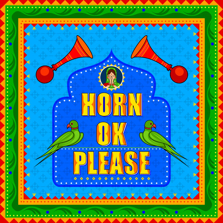 Horn Ok Please background in Indian Truck Art style. Illustration
