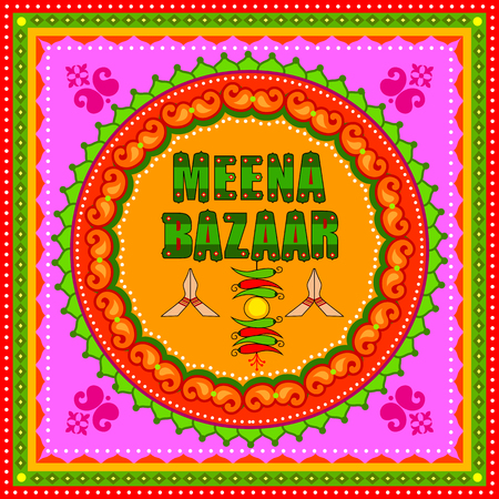 Meena Bazaar background in Indian Truck Art style