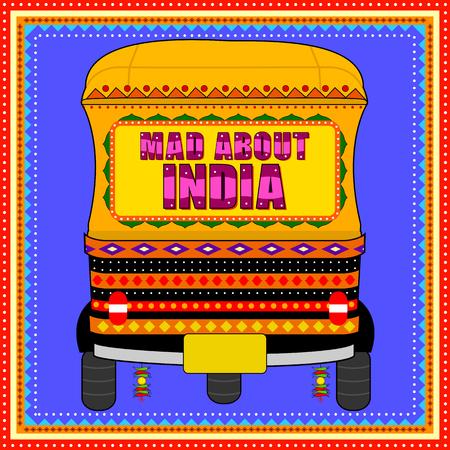 Gekke India achtergrond in de Indiase Truck Art-stijl