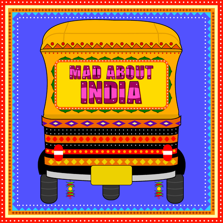 Mad About India background in Indian Truck Art style 免版税图像 - 80572395
