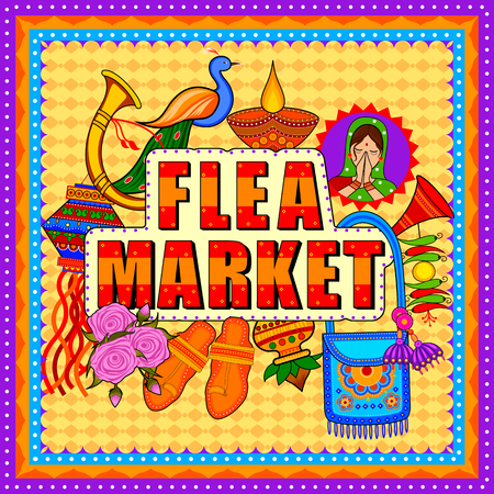 Vlooienmarkt achtergrond in Indiase vrachtwagen Kunststijl Stockfoto - 80572418