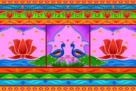 Floral Kitsch background in Indian Truck Art style Stock Vector - 80572419