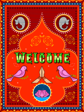 Welcome background in Indian Truck Art style