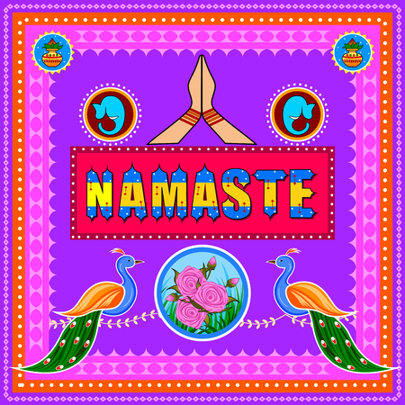 Namaste background in Indian Truck Art style Stock Vector - 80572612
