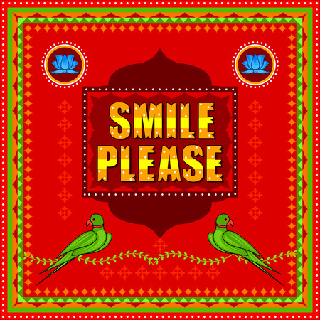 A smile Please background in Indian Truck Art style Stock Vector - 80572623