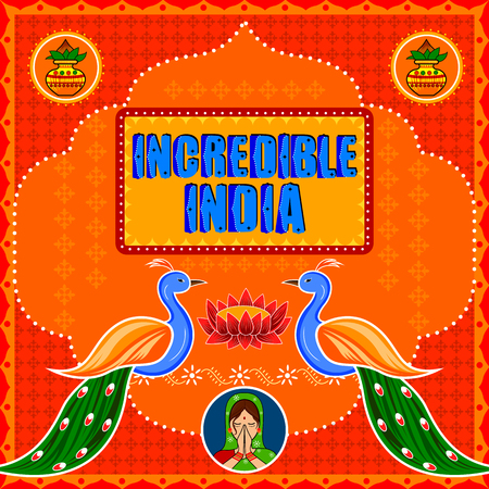 Incredible India background in Indian Truck Art style Stock Vector - 80572984