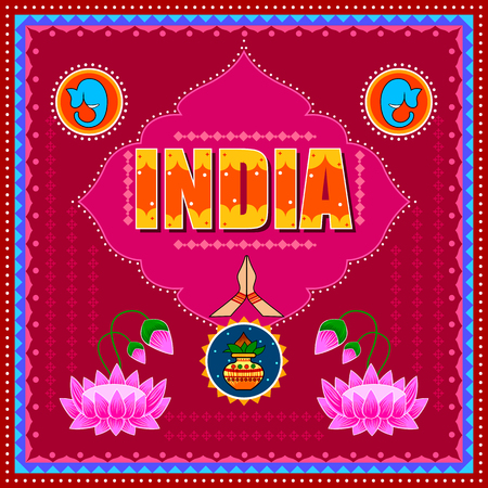 India background in Indian Truck Art style Stock Vector - 80572989