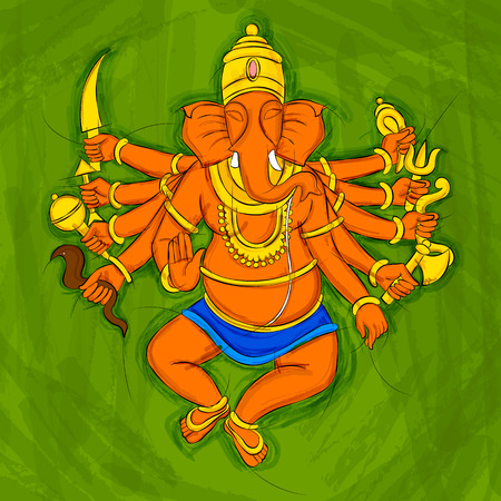 A Vector design of Vintage Abstract Statue painting of Indian Lord Ganesha.