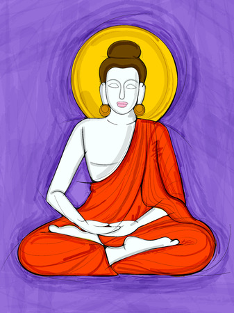 A Vector design of Vintage statue of Indian Lord Buddha sculpture one of avatar from the Dashavatara of Vishnu engraved on stone 向量圖像