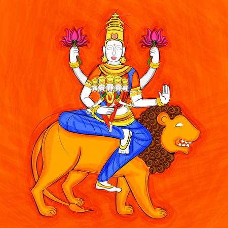 Vector design of Vintage statue of Indian Goddess Skanda Mata sculpture one of avatar from Navadurga engraved on stone Illustration