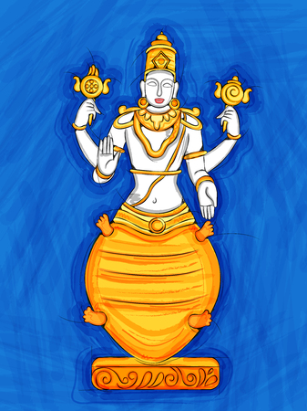 Vector design of Vintage statue of Indian Lord Kurma sculpture one of avatar from the Dashavatara of Vishnu engraved on stone Illustration