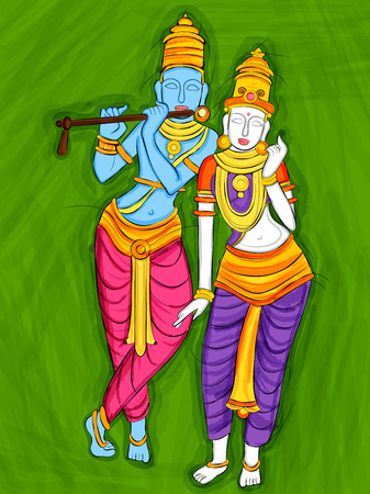 radha: Vector design of Vintage statue of Indian God Radha and Krishna sculpture engraved on stone