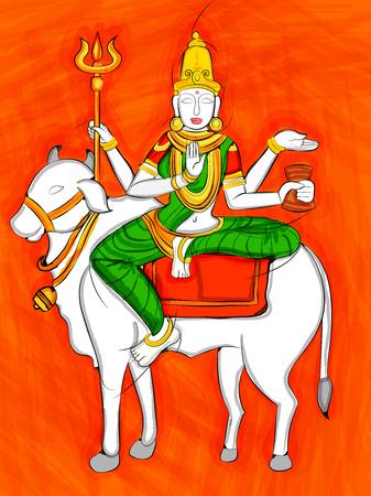 Vector design of Vintage statue of Indian Goddess Maha Gauri sculpture one of avatar from Navadurga engraved on stone Illustration