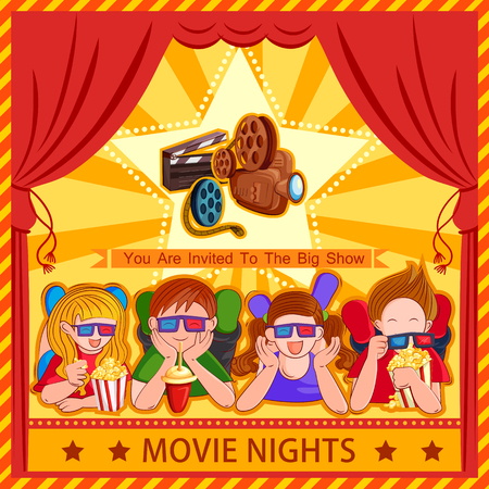 Poster for Children Movie Film festival party night Illustration
