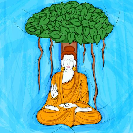 Vintage Statue of Indian Lord Buddha Sculpture Ilustração