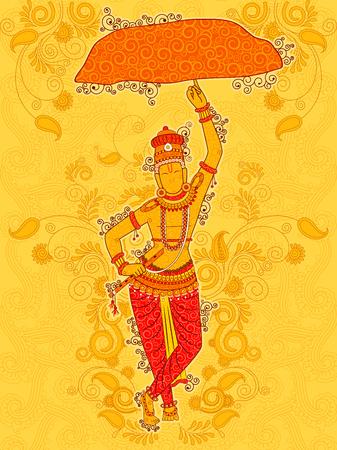 Vector design of Vintage statue of Indian God Krishna sculpture in India art style Illustration
