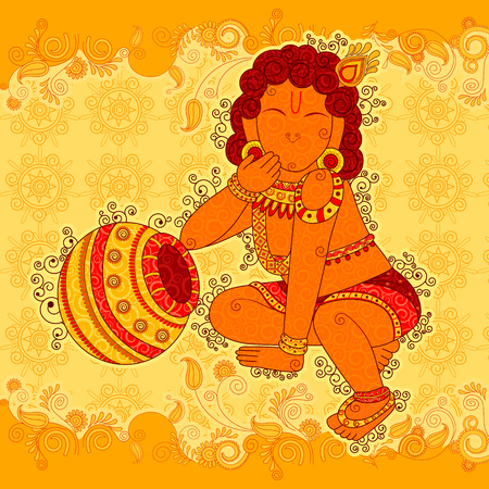Vintage statue of Indian God Krishna sculpture in India art style Illustration