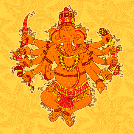 Vector design of Vintage Abstract Statue painting of Indian Lord Ganesha in India art style Illustration