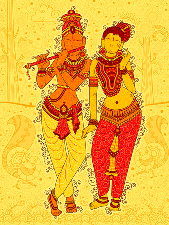 radha: Vintage Statue of Indian God Radha and Krishna Sculpture in India art style