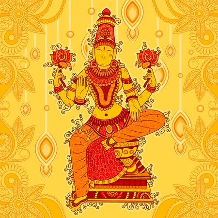Vintage Statue of Indian Goddess Lakshmi Sculpture in India art style