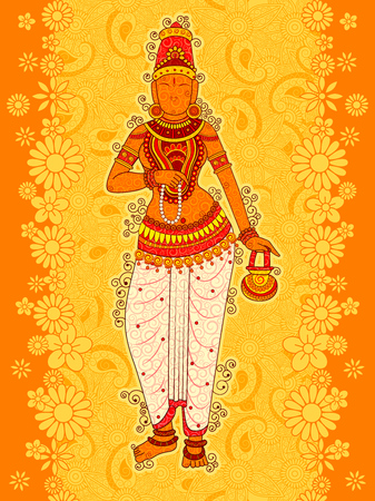 Vintage Statue of Indian Goddess Brahmacharini Sculpture