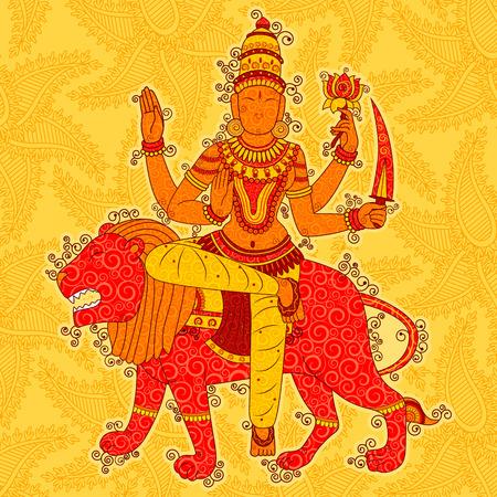 Vintage Statue of Indian Goddess Katyayani Sculpture