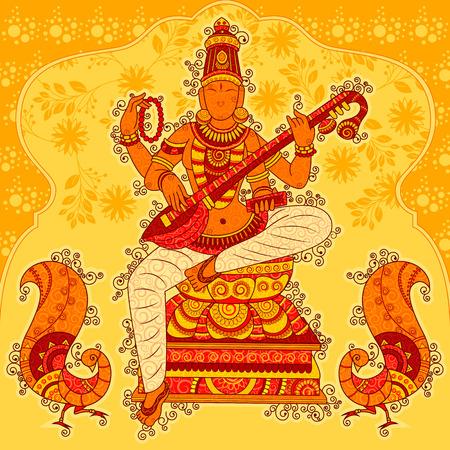 Abstract Statue painting of Indian Goddess Saraswati Sculpture