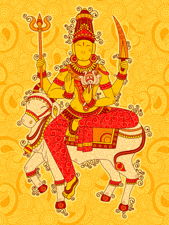 Vintage Statue of Indian Goddess Shailaputri Sculpture