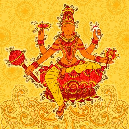 Vintage Standbeeld van Indisch Godin Siddhidatri Beeldhouwwerk