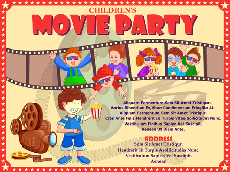 Poster per la festa di film del cinema di pellicola di notte