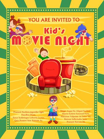 Poster for Children Movie Film festival party night Illustration