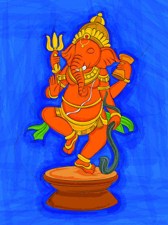 Abstract Statue painting of Indian Lord Ganesha sculpture